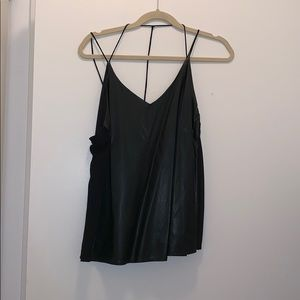 Ya Los Angeles faux leather and sheer strappy tank